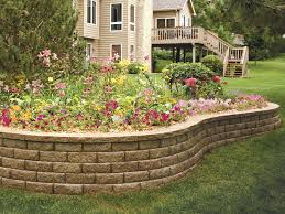 close view of raised concrete block planter made from aspen stone retaining walls