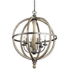 distressed unstained wooden cage chandelier with metal candle holder and arm beautiful antique wood and