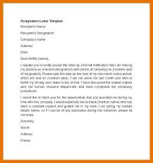Formal Resignation Letter Example 9 10 Formal Resign Letter Template Juliasrestaurantnj Com