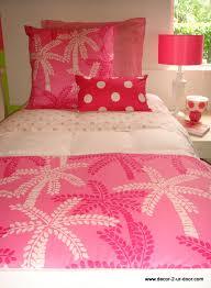 custom lilly pulitzer pink palm tree dorm room bedding set