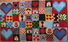 patchwork hearts and homes latch hook rug kit