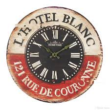 Retro Kitchen Wall Clocks Vintage British France Styles Wooden Retro Colourful Country