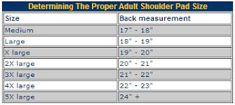 Resource Center Adult Shoulder Pad Size Chart