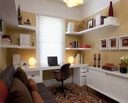 office at home. Astounding Office At Home Ideas With White Desk And Shelves Floating Brown Rugs