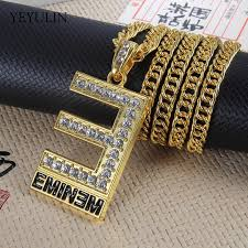 whole hip hop gold color letter e pendants necklaces with long twist chain statement necklace for woman men mom pendant necklace pearl necklace from