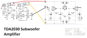 tda2030 make for subwoofer amplifier circuit using subwoofer tda2030 make for subwoofer amplifier circuit using subwoofer enhancing or bosster 4558 this tda2030 more powerfull
