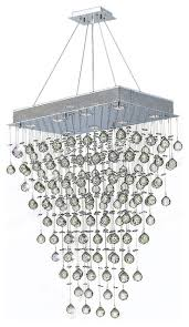 modern 8 light chrome clear crystal ball prism chandelier rectangle