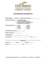 Form Of Share Certificate Fillable Online Escfcu Share Certificate Cd Purchase Request