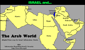size comparison map of israel and the arab world Israel In The World Map comparison of the size of israel vs the arab world israel world map
