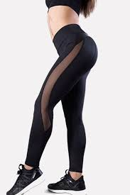 black mesh faux leather splicing running yoga sports leggings