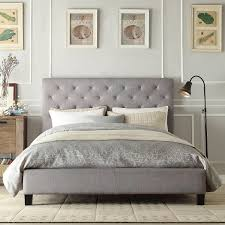 Amazon.com - Modern Diamond Button Tufted Upholstered Padded Square Queen  Headboard & Platform Bed