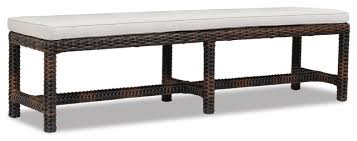 sunset west montecito dining bench with cushions canvas flax