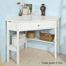 White work desk Remodel Image Is Loading Cornerconsoletablewhitewoodworkdeskshelving Ebay Corner Console Table White Wood Work Desk Shelving Unit Drawer