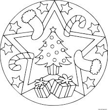 Coloriage Mandala Noel Sapin Cadeaux Dessin