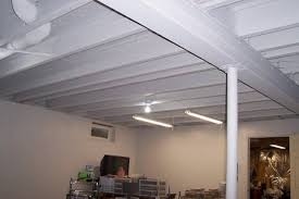 Fine Basement Ceiling Ideas On A Budget Of White Throughout Decorating