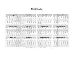 Printable 2018 Calendar On One Page Horizontal Week Starts On Monday
