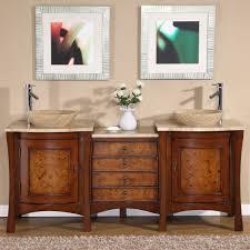 bathroom sink furniture. Amazon.com: Silkroad Exclusive Travertine Stone Top Modern Double Sink Vessel Bathroom Vanity, 72-Inch: Home \u0026 Kitchen Furniture D