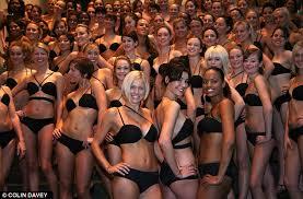 100 Models Wearing Wonderbrau0027s New Multiplunge Bra Arrive At The National  Gallery In Central London.