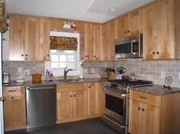 Honey Oak Kitchen Cabinets brick bone light gray ceramic back splash decor with varnished 4085 by xevi.us
