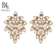 <b>DiLiCa Elegant Women's</b> Dangle Earrings Rhinestones Gold Color ...