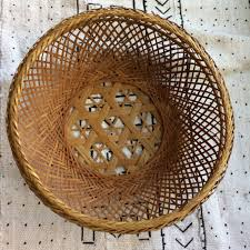 vintage japanese bamboo rattan wicker basket wall decor wall