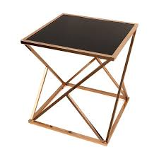 gold end table. Danya B. Square Geodesic Rose Gold End Table With Black Glasstop