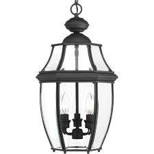 progress lighting new haven collection 3 light outdoor black hanging lantern