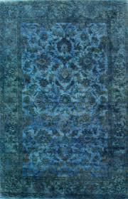 rugsville traditional overdyed light blue wool rug 35001