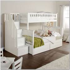 charming white wooden trundle bed ikea with staircase and under stair stoarge also bedding
