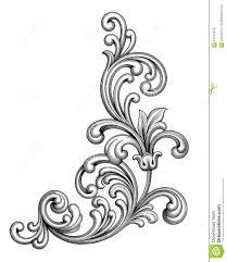 Vintage Baroque Victorian Frame Border Monogram Floral Ornament Scroll  Engraved
