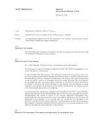 Corporate Minutes Template Free Sample Example Format S