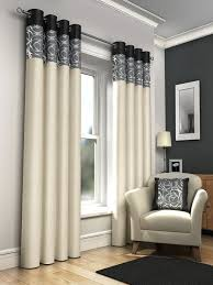 one pair of faux silk fully lined eyelet curtains 90 x 90 approx foil print cream with black grey and silver co uk kitchen home