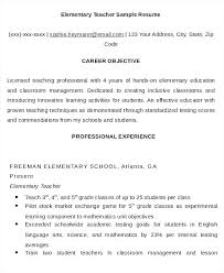 Effective Resume Objectives Simple Elementary Teacher Resume Objective Elementary School Teacher Resume