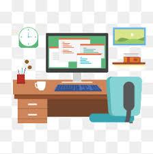 office desk clipart. Beautiful Desk Vector Office Desk Computer Office Desk Computer Vector PNG And In Desk Clipart P