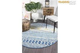 amelia navy yellow grey coastal durable round rug 240x240cm