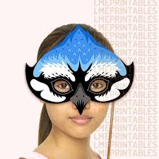 Mask Templates For Adults Amazing Blue Jay Bird Mask Printable Animal Masks Paper Mountain Etsy