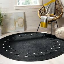 hand woven natural fiber black jute rug round rugs 8 ft