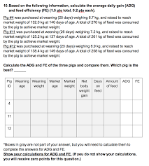 Show Pig Weight Gain Chart Solved Please Show The Calculations In Order For Me To Un