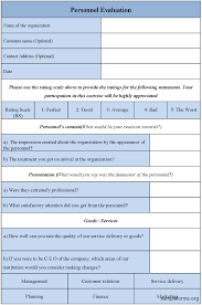 Personnel Evaluation Form : Sample Forms