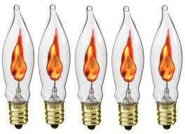 creative hobbies a101 flicker flame light bulb 3 watt 130 volt e12 candelabra base flame shaped nickel plated base s with a flickering orange