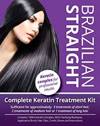 brazilian straight keratin home use treatment kit salon quality hair straightening dry