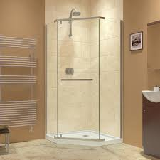 stunning bathroom design with corner shower and dreamline shower door also towel warmer and vessel sink