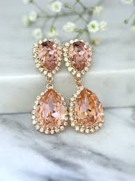 rose gold blush earrings bridal blush earrings bridal drop earrings blush statement earrings swarovski blush chandelier earrings