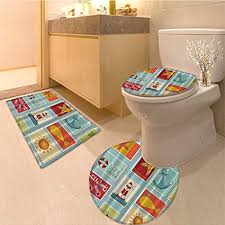 Bathroom Tile Designs Ideas Adorable Amazon 48 Piece Bath Rug Set Theme Light Anchor Palm Trees Beach