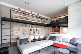 Natural color furniture Wood Finishing The Central Living Premise Offers Open Plan Exposition That Is Designed In Splitlevel Exposition And Entwines The Dark Steel Spine That Stretches To Define Modern Apartment Decor With Minimalistic And Natural Color Palette