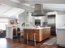 kitchen wood furniture. Example Of A Mid-sized Trendy U-shaped Medium Tone Wood Floor Eat- Kitchen Furniture