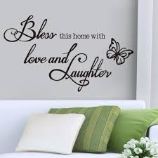 decoration black butterfly green pillows striped flowers bless this home with love and laughter wall character stickers  on wall art writing decor with wall art give you ideas about wall art with words kitchen word art