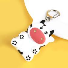 1pc Creative Little Cow Led Flashlight Keychain Animal