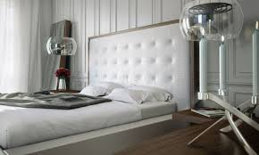 white leather headboard. Contemporary Headboard White U0026 Walnut Modern Bed WOversized Tufted Leather Headboard With A