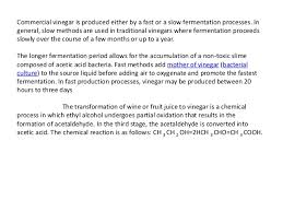Industrial Production Of Vinegar Flow Chart Vinegar Making